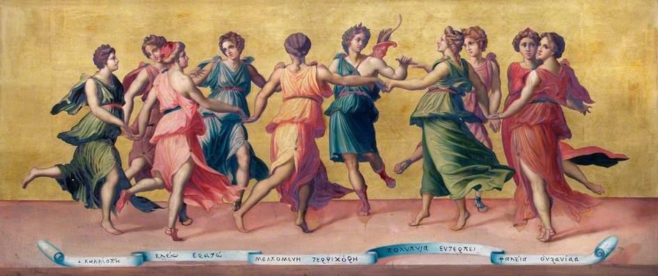 """Бальдассаре Перуцци, """"Танец Аполлона с музами"""".  Холст, масло. 1-я треть XVI в."""