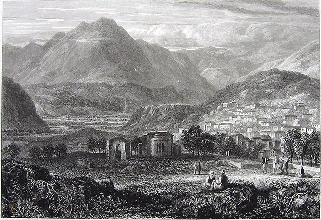 Криса, вид на гору Парнас. Гравюра Г.У. Уильямса, 1829