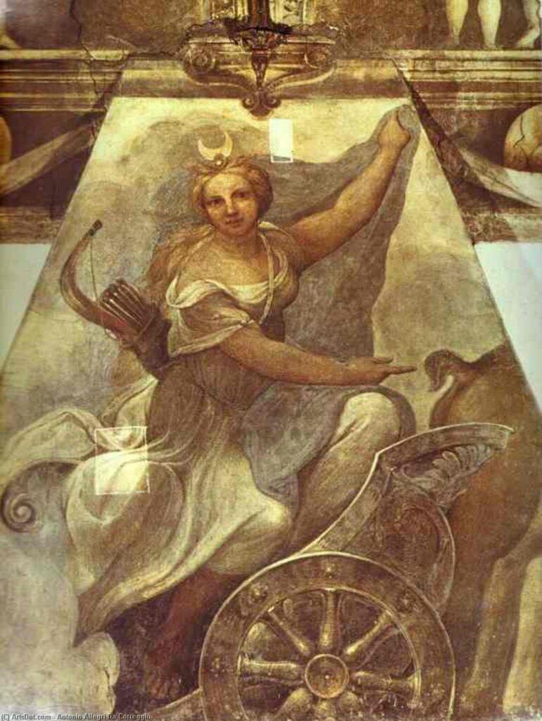 """Антонио да Корреджо, """"Диана-охотница"""". Фреска из монастыря Сан-Паоло (Парма, Италия), 1519"""