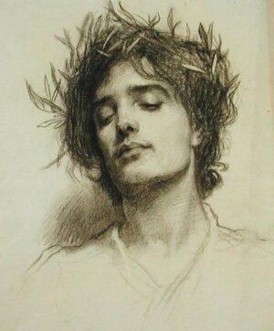 """Герберт Джеймс Дрейпер (1863-1920), """"Фигура с лавровым венком """". Карандаш, бумага"""
