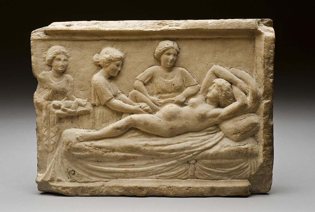 Мраморная табличка с изображением сцены родов. Остия (Италия), ок. 400 г. до н.э.