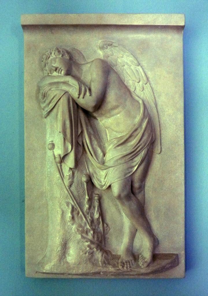 """Иоганн Готфрид Шадов, """"Гипнос"""". Мраморный рельеф для надгробия графа Александра фон дер Марка, 1788-1789"""