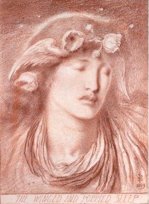"""Симеон Соломон, """"Крылатый Сон, увенчанный маками"""", 1899"""