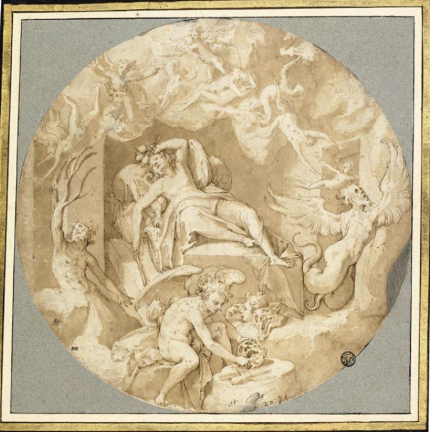 """Таддео Цуккаро, """"Пещера Сна"""". Рисунок для фрески, изображающий Сомнуса и его его сыновей: Фантаза, Морфея и Икела. Бумага, перо, чернила, ок. 1559-1562"""
