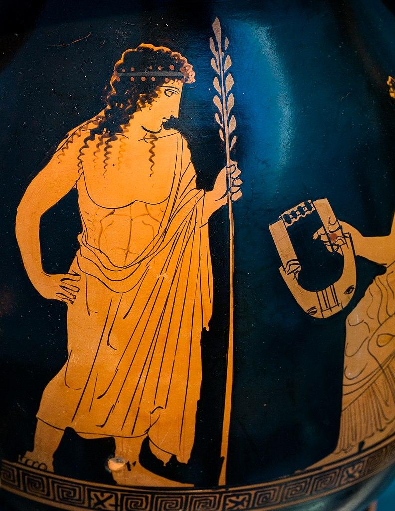 Аполлон и муза с лирой. Аттическая краснофигурная пелика, ок. 430 до н.э., фрагмент росписи