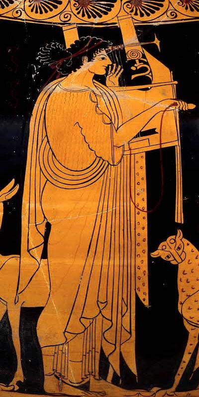 Аполлон, играющий на лире. Аттическая краснофигурная амфора, ок. 520-500 до н.э.