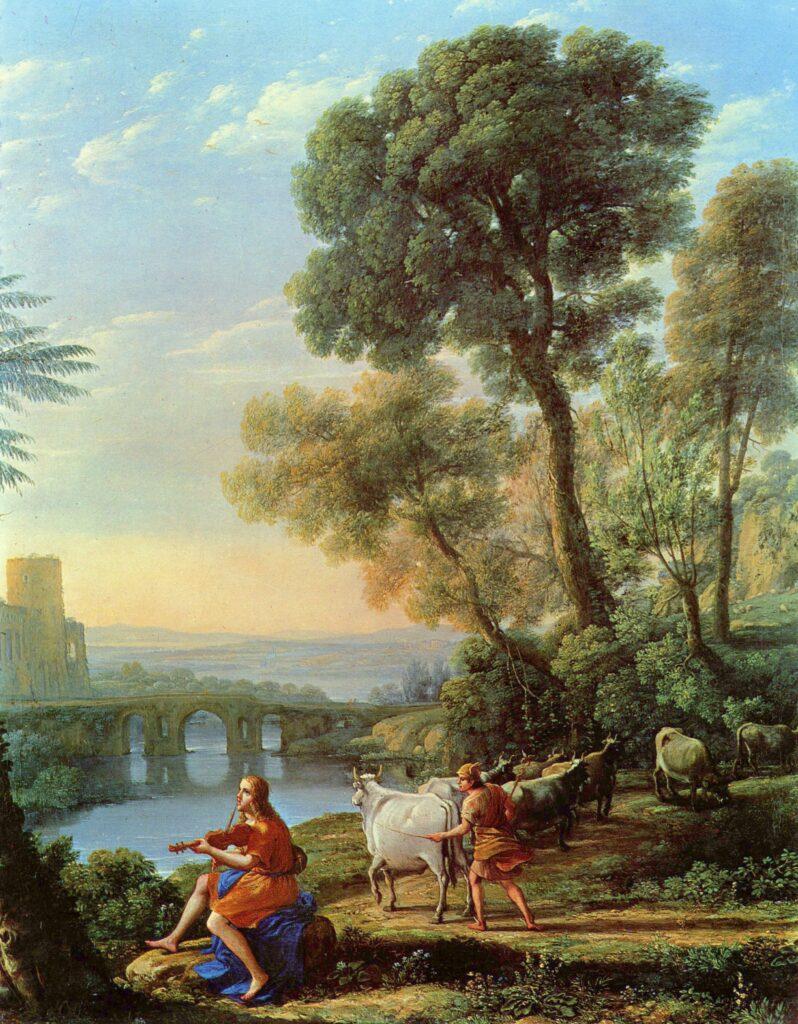 """Клод Лоррен, """"Пейзаж с Аполлоном и Меркурием"""". Масло, холст, ок. 1645"""