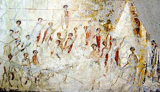 Сцена суоветаурилии (жертвоприношения свиньи, овцы и быка) на празднике Компиталий. Фреска из дома в окрестностях Помпей, 2-я пол. I в. н.э. Одно из немногих сохранившихся изображений римлян в тогах-претекстах (белых с пурпурной каймой)