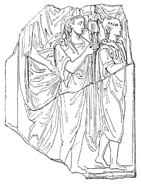 Участники процессии на празднике Компиталий несут изображение лара. Рисунок с римского барельефа