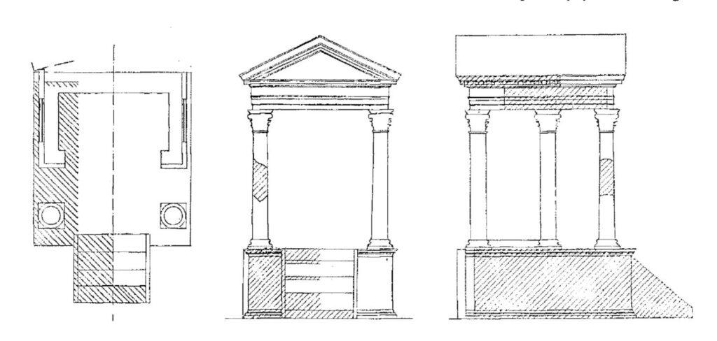 Реконструкция святилища ларов на Перекрестке Акила (Compitum Acili), Рим