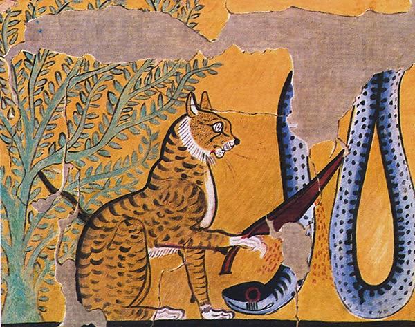 Египетский солнечный бог Ра в образе кота убивает змея Апопа. Деталь росписи из гробницы Сеннджема (Дейр-эль-Медина, Западные Фивы, ок. 295–1213 до н.э.)