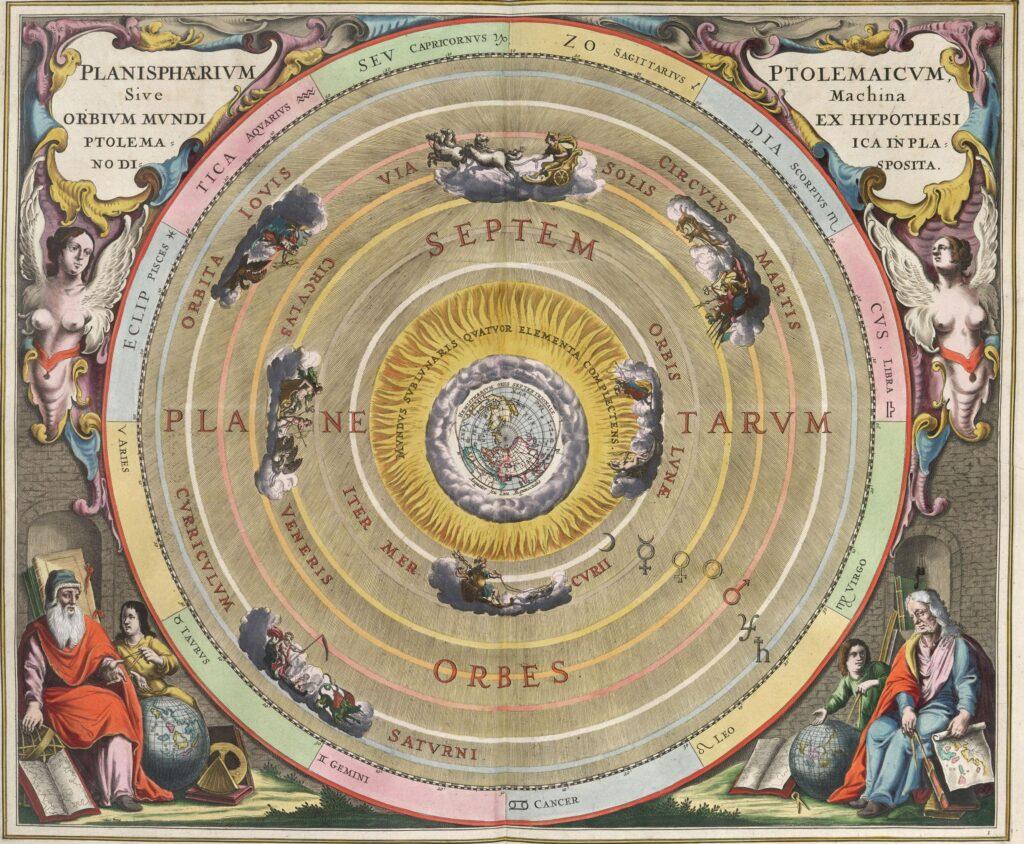 """""""Планисфера Птолемея, или механизм небесных сфер согласно гипотезе Птолемея, представленный на плоскости"""". Гравюра из """"Небесного атласа"""" Андрея Целлария, Амстердам, 1661"""